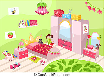 illustration of a beautiful girls room