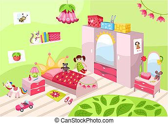 illustration of a beautiful girls room