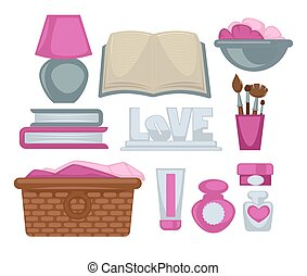 Girl room stylish elements vector poster on white....