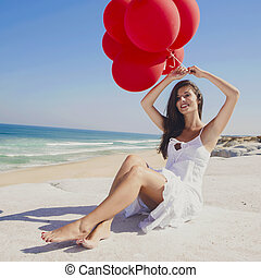 girl, rouges, ballons