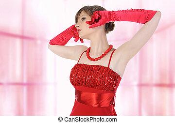 girl, rouges, gloves., beau