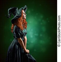 girl, roux, sorcière, costumes, beau