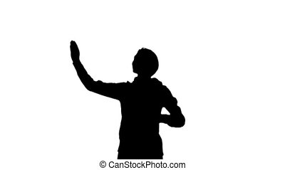 Girl run and blows a kiss . White background. Slow motion....