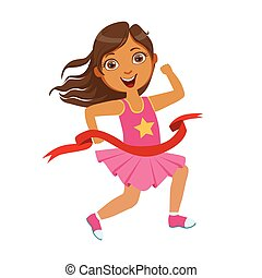 Girl run to the finish line first, a colorful character