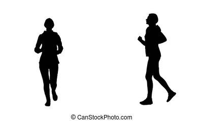 Girl run . White background. Silhouette - Girl run down the...