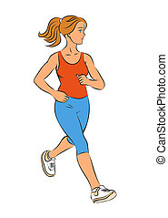 Girl runner on a white background.
