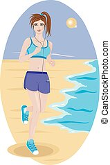 Girl running along the coast