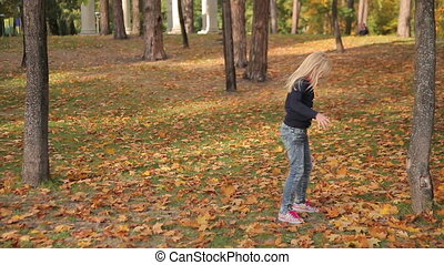 Girl Running and Playing in the Park