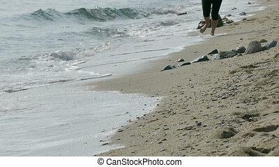 Girl running at beach