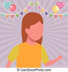Girl running cartoon birthdays party