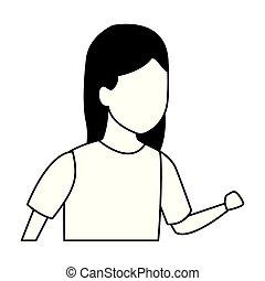 Girl running cartoon black and white