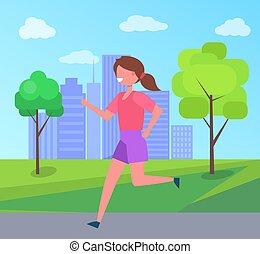 Girl Running in City Park Skyscraper on Background