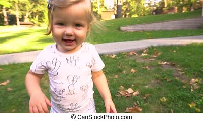 Girl running in nature - Adorable toddler girl in autumnal...