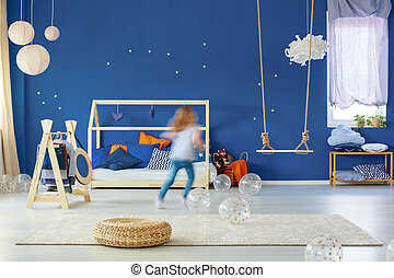 Girl running in room