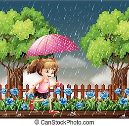 Girl running in the rain