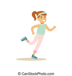 Girl Running, Kid Practicing Different Sports And Physical Activities In Physical Education Class