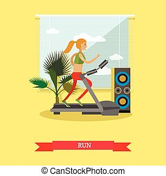 Girl running on a treadmill in fitness center. Gym and healthy lifestyle concept vector poster in flat style