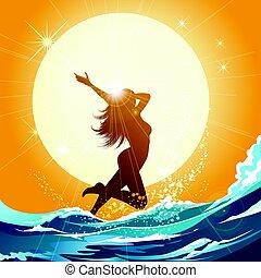 Girl running on the beach