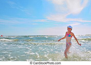 Girl running on water