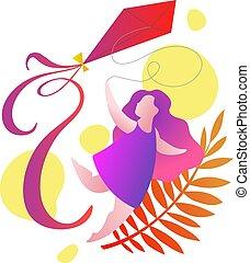 girl running with a kite, cartoon vector illustration