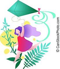 girl running with a kite, modern vector illustration