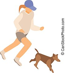 Girl running with dog icon, isometric style