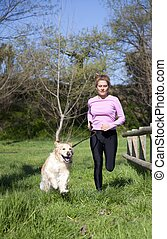 Girl running with your dog