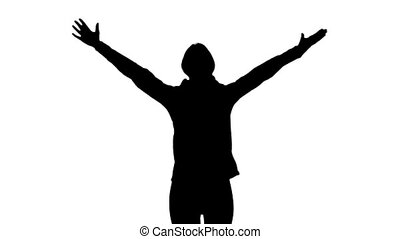 Girl runs and raises her hands up. White background. Slow...
