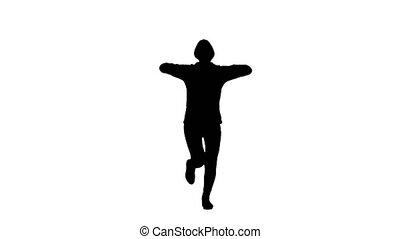 Girl runs raises her hands up. White background. Silhouette...