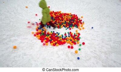 girl runs through pile of balls, second child slide and ...