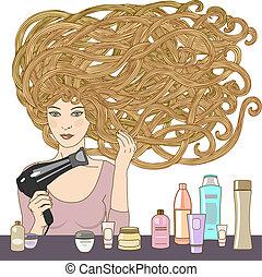 girl, sèche-cheveux