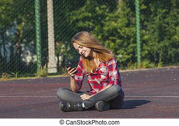 girl, séance, cour de récréation, adolescent, école