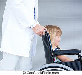 girl, séance, fauteuil roulant