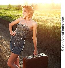 girl, séduisant, valise