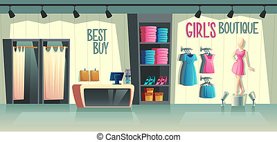girl s boutique. Female clothing shop interior.