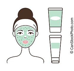 Girl s Face with Green Mask Vector Illustration
