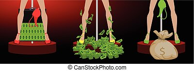 girl s legs in a pile of dollar bag and case
