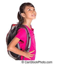 girl, sac à dos, jeune