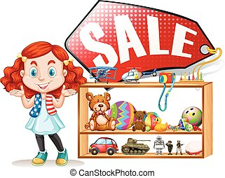 Girl saling old toys illustration
