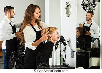 girl, salon, cheveux, coupures