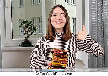 girl, sandwich, adolescent, haut, pouce, heureux, vegan