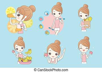 girl, santé, dessin animé