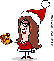 girl, santa, présent, dessin animé