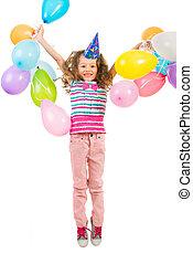 girl, sauter, ballons, joyeux, heureux