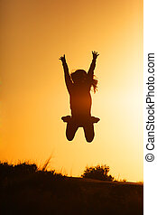 girl, sauter, coucher soleil