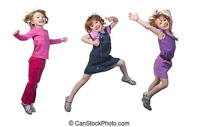 girl, sauter, heureux