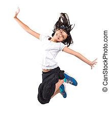 girl, sauter, jeune, asiatique