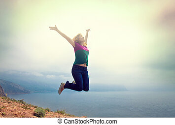 girl, sauter, jeune, heureux