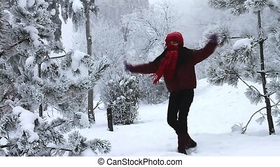 girl, sauter, neige, heureux