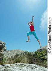 girl, sauter par-dessus, galets, fitness